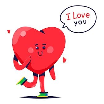 Lindo corazón con texto escrito a mano te amo ilustración de dibujos animados aislado sobre fondo blanco.