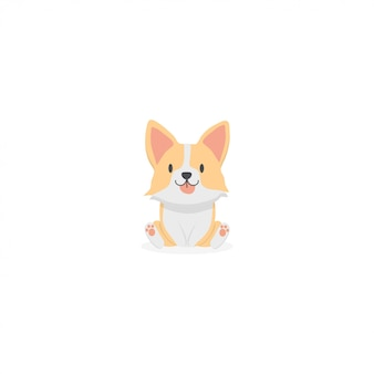 Lindo corgi cachorro icono de dibujos animados