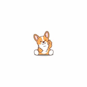 Lindo corgi cachorro sentado y guiñando el ojo icono de dibujos animados