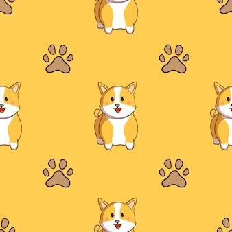Lindo corgi y huellas de perro de patrones sin fisuras con estilo doodle sobre fondo amarillo