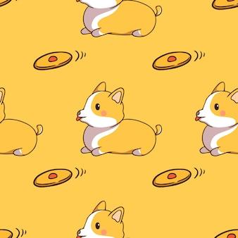 Lindo corgi con juguete en patrones sin fisuras con estilo doodle sobre fondo amarillo