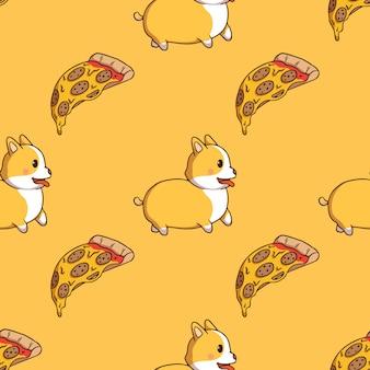 Lindo corgi y rebanada de pizza en patrones sin fisuras con estilo doodle sobre fondo amarillo