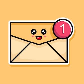 Lindo correo electrónico con diseño de dibujos animados de notificación