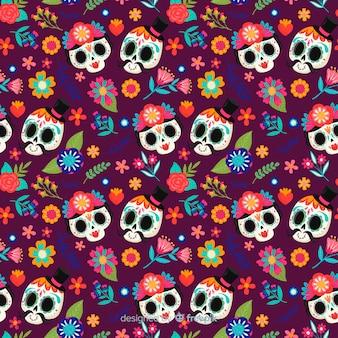 Lindo cráneo parejas dibujadas a mano patrón de día de muertos