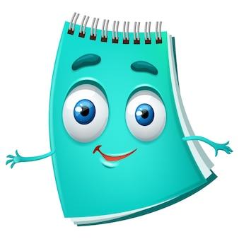 Lindo cuaderno de dibujos animados divertido diario turquesa