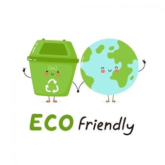 Lindo cubo de basura feliz y planeta tierra. tarjeta ecológica. aislado en blanco diseño de ilustración de personaje de dibujos animados de vector, estilo plano simple. reciclaje, concepto de basura clasificada