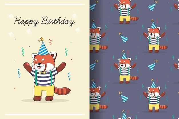 Lindo cumpleaños panda rojo de patrones sin fisuras e ilustración
