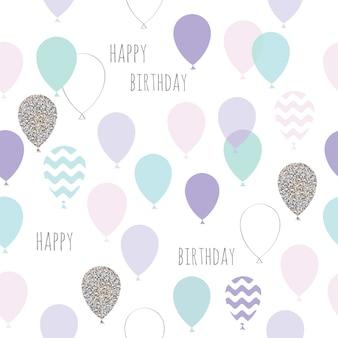 Lindo cumpleaños de patrones sin fisuras con globos.