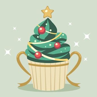 El lindo cupcake de árbol de navidad con estrella y cinta dorada