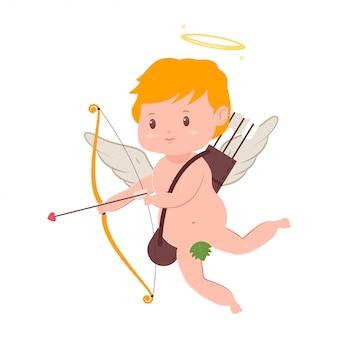Lindo cupido con arco y flecha. día de san valentín vector de dibujos animados amur personaje con alas de ángel y halo aislado