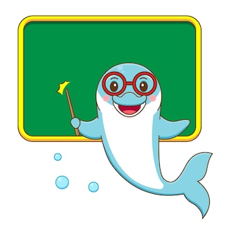 Lindo delfín como profesor de dibujos animados