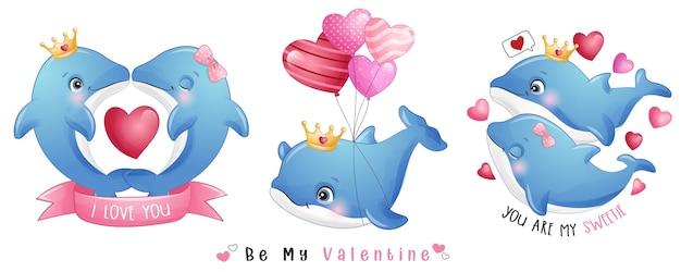 Lindo delfín doodle para la colección del día de san valentín