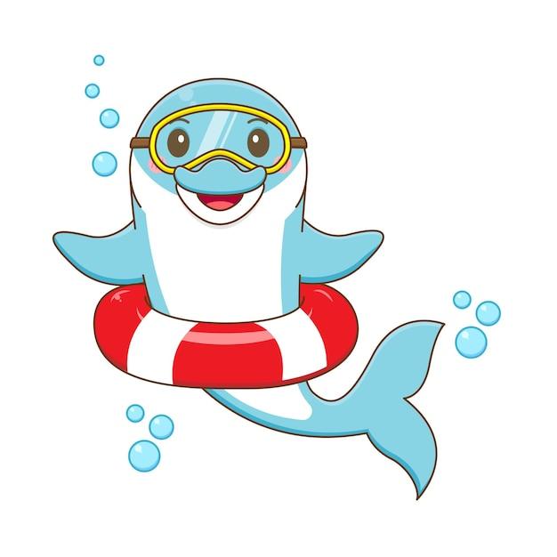 Lindo, delfín, natación, caricatura