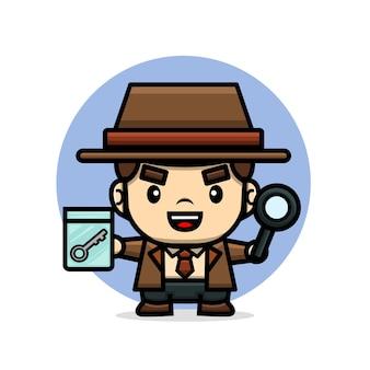 Lindo detective sosteniendo una pista y lupa
