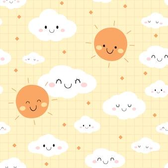 Lindo día cielo nube dibujos animados doodle de patrones sin fisuras