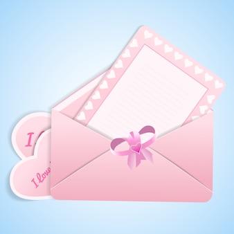 Lindo día de san valentín con dos sobres de san valentín con arco y ilustración de tarjeta en blanco