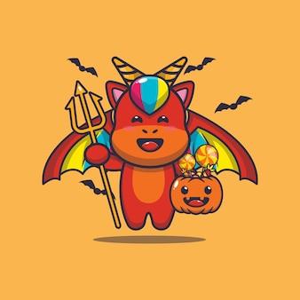 Lindo diablo unicornio llevando calabaza halloween linda ilustración de dibujos animados de halloween Vector Premium