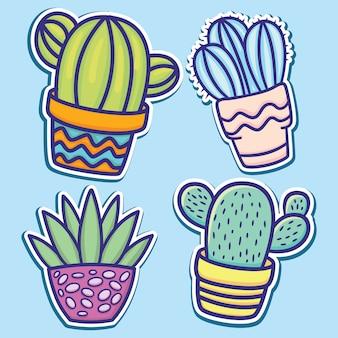 Lindo dibujado a mano pegatinas de cactus de dibujos animados