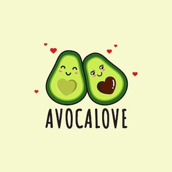Lindo dibujo de doodle de amor de aguacate kawaii