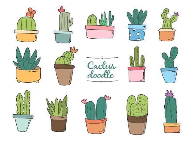 Lindo dibujo a mano colección de pegatinas de cactus set doodle