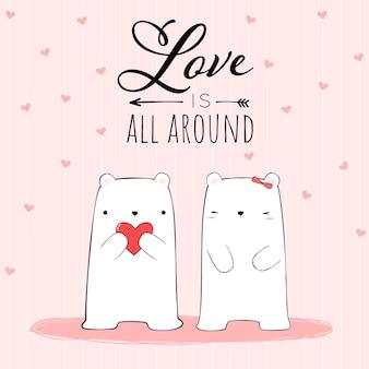Lindo dibujo a mano pareja de amantes del oso polar con love is all around cita