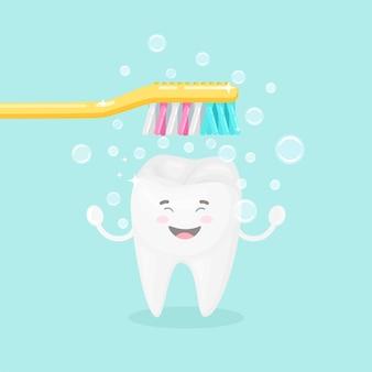 Lindo diente con cepillo de dientes aislado en blu