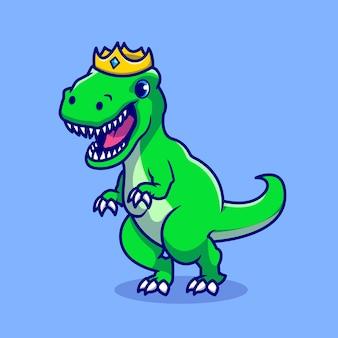 Lindo dino con personaje de dibujos animados de corona. animales salvajes aislados.