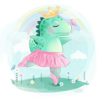 Lindo dinosaurio está bailando ballet