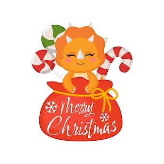 Lindo dinosaurio celebra la navidad de la bolsa de santas