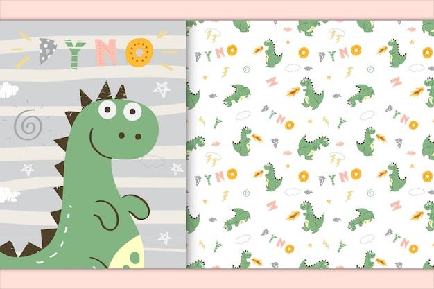 Lindo dinosaurio ilustración y patrones sin fisuras