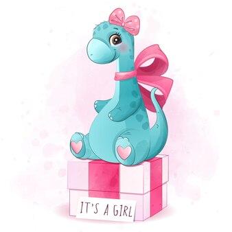 Lindo dinosaurio madre y bebé ilustración