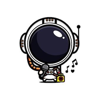 Lindo diseño de astronauta está cantando