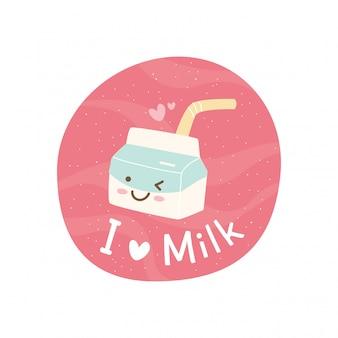 Lindo diseño de camiseta con lema y caja de leche kawaii
