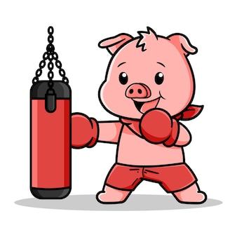 Lindo diseño de cerdo de boxeo con saco de boxeo