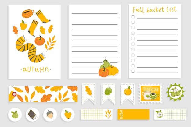 Lindo diseño de cuaderno de otoño plantilla de planificador diario