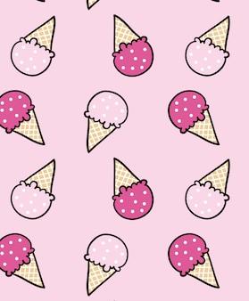 Lindo diseño de patrón de helado para la impresión de camisetas
