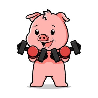 Lindo diseño de dibujos animados de cerdo con pesas