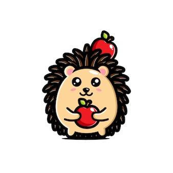 Lindo diseño de erizo abrazando manzana