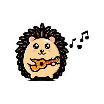 Lindo diseño de erizo está tocando la guitarra