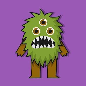 Lindo diseño de ilustración de pequeño monstruo