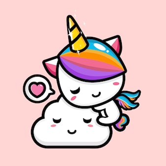 Lindo diseño de mascota unicornio