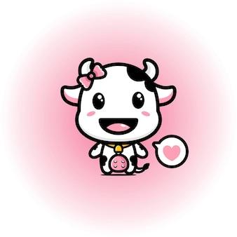 Lindo diseño de mascota de vaca