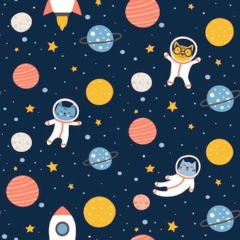 Lindo diseño de patrones sin fisuras de gatos espaciales