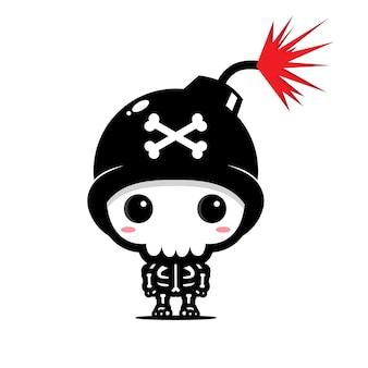 Lindo diseño de personaje de calavera de bomba