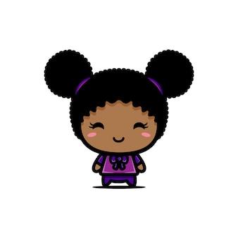 Lindo diseño de personaje de niña negra