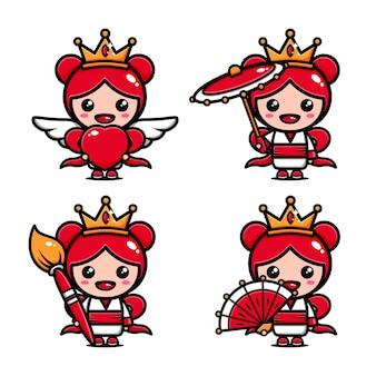 Lindo diseño de personaje de reina pequeña con muchas expresiones.