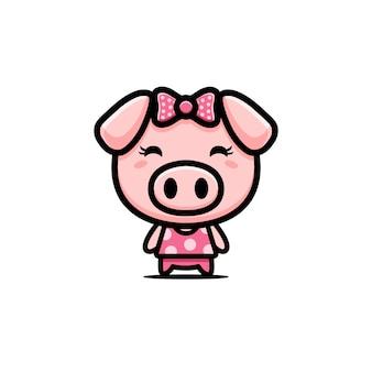 Lindo diseño de personajes de cerdo