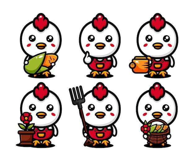 Lindo diseño de personajes de granjero de pollo con equipos agrícolas