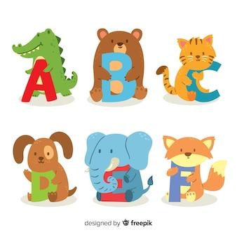 Lindo diseño plano de letras de animales