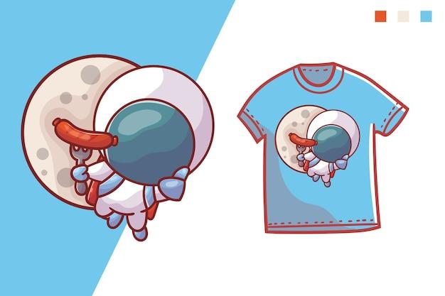 Lindo diseño de plantilla de camiseta de astronauta